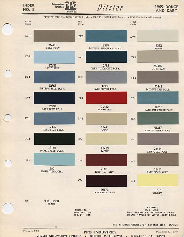 Dodge Dart Paint Colors